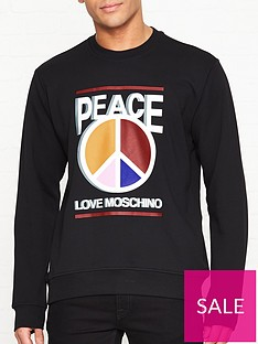 love-moschino-peace-multi-colour-sign-print-sweatshirt-black