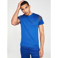 5cd54ff9a BOSS Athleisure Colourblock Tech T-Shirt - Blue/Grey | very.co.uk