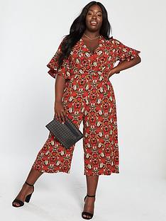 ax-paris-curve-floral-jumpsuit-red