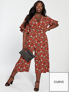 ax-paris-curve-floral-jumpsuit-red