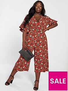 87ed1cb9caa94 AX PARIS CURVE Floral Jumpsuit - Red