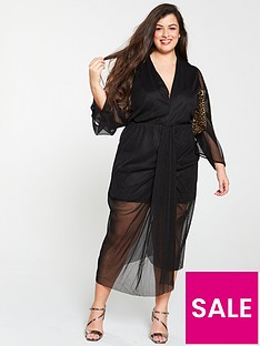 ax-paris-curve-ruched-front-midi-dress-black