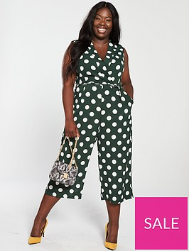 ax-paris-curve-curve-polka-dot-jumpsuit-green