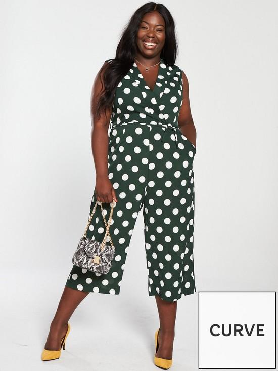 a57787ac4e2 AX PARIS CURVE Curve Polka Dot Jumpsuit - Green