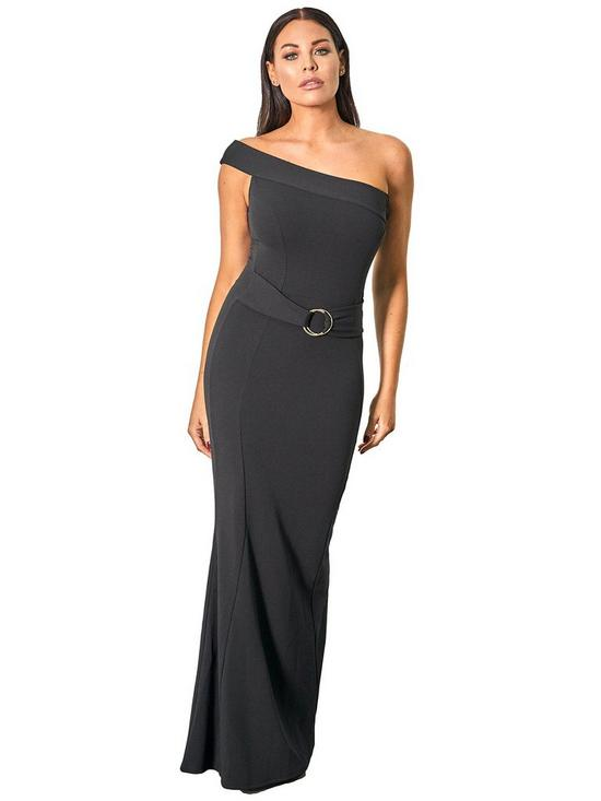 415131b9808 Sistaglam Loves Jessica SISTAGLAM LOVES JESSICA WRIGHT ONE SHOULDER BODYCON MAXI  DRESS WITH BUCKLE WAIST