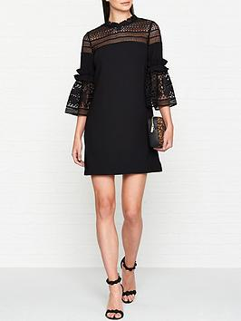 ted-baker-lucila-lace-panel-bell-sleeve-tunic-dress-black
