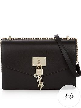 dkny-elissa-large-shoulder-flap-bag-blackgold