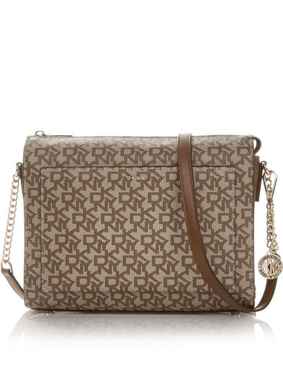 ead0854cfc17 DKNY Bryant Park Logo Medium Box Cross-Body Bag- Tan