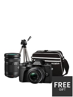 olympus-om-d-e-m10-mk-iii-compact-system-camera-traveller-kit-black-inc-14-42mm40-150mmnbsplenses-tripod-bag