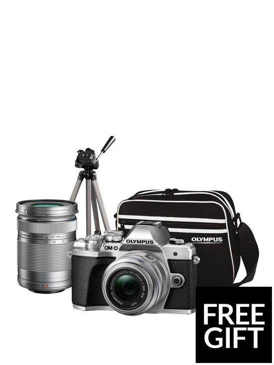 82bd229bfd OM-D E-M10 MK III Compact System Camera Traveller Kit (Silver) inc  14-42mm+40-150mm, Tripod, Bag