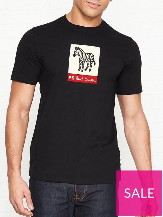 dc60edcfc9a5 PS PAUL SMITH Zebra Print T-shirt - Black   very.co.uk