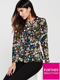V by Very Floral Peplum Blouse - Printed 4773b9517