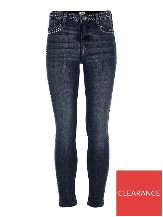 727eefb61fa04 River Island Girls Amelie Studded Skinny Jeans - Blue | very.co.uk