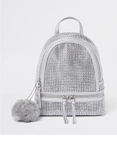 river-island-girls-diamante-embellished-backpack-silver