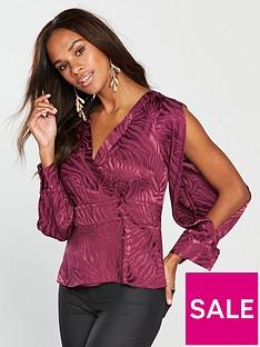 v-by-very-jacquard-wrap-blouse-berry