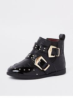 river-island-mini-girls-double-buckle-stud-boots-black