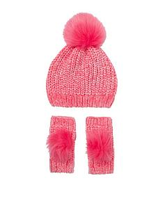 river-island-mini-girlsnbspchenille-knit-hat-and-mittens-set-pink