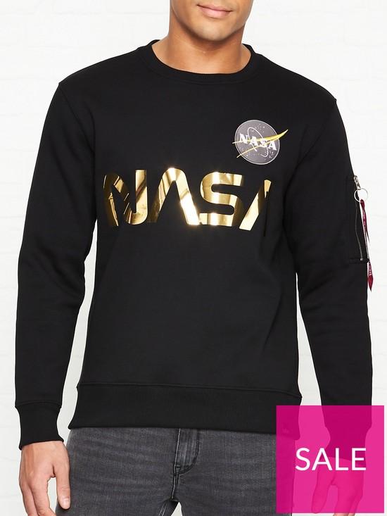 b572c15db ALPHA INDUSTRIES Nasa Reflective Sweatshirt - Black | very.co.uk