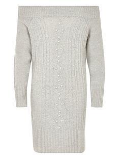 river-island-girls-knit-pearl-bardot-jumper-dress-grey