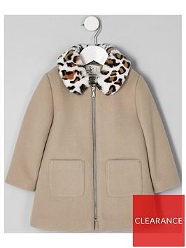 river-island-mini-girls-leopard-print-trim-coat-brown