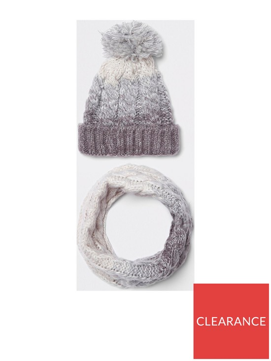 80d890b3860 River Island Boys grey ombre knit hat and snood set