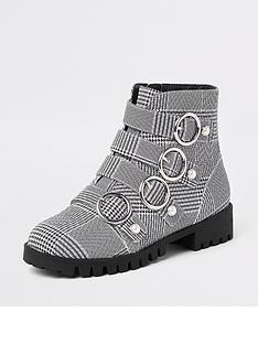 river-island-girls-check-circle-buckle-boots-black