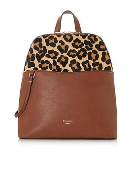 dune-london-doval-large-zip-animal-print-pocket-back-pack-brown