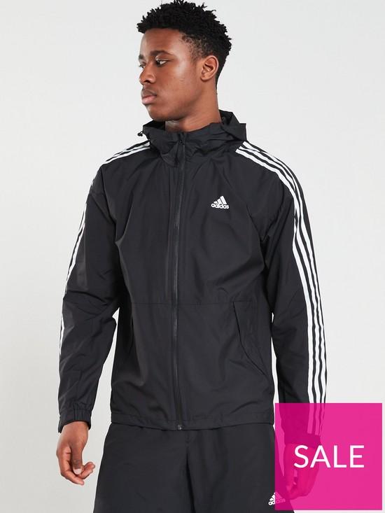 719235a19 adidas 3 Stripe Windbreaker - Black | very.co.uk