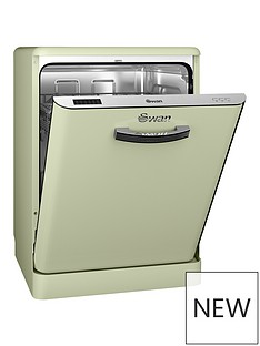 Swan SDW7040GN Retro 12-Place Dishwasher - Green Best Price, Cheapest Prices