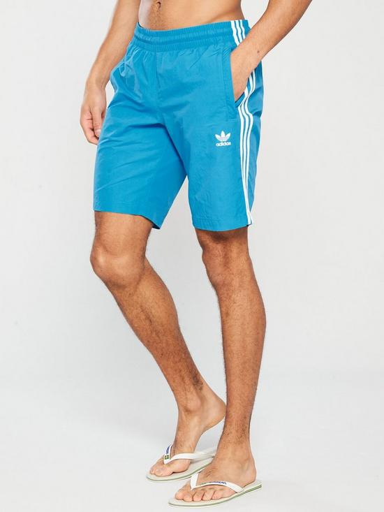 aa07acdb5d adidas Originals 3 Stripe Swim Shorts - Blue | very.co.uk