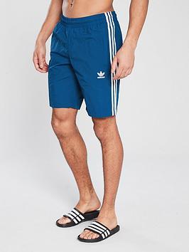 ebaf614986d59 adidas Originals 3 Stripe Swim Shorts - Navy | very.co.uk