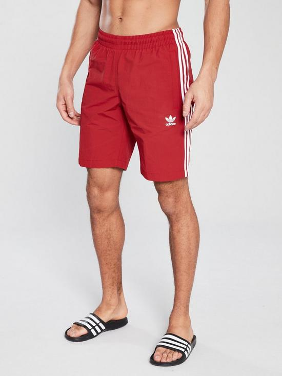 4d296b498d4 adidas Originals 3 Stripe Swim Shorts - Red | very.co.uk