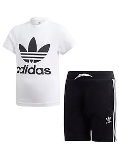 a2ae3354e817 adidas Originals Boys Shorts and Short Sleeve T-Shirt Set - White Black