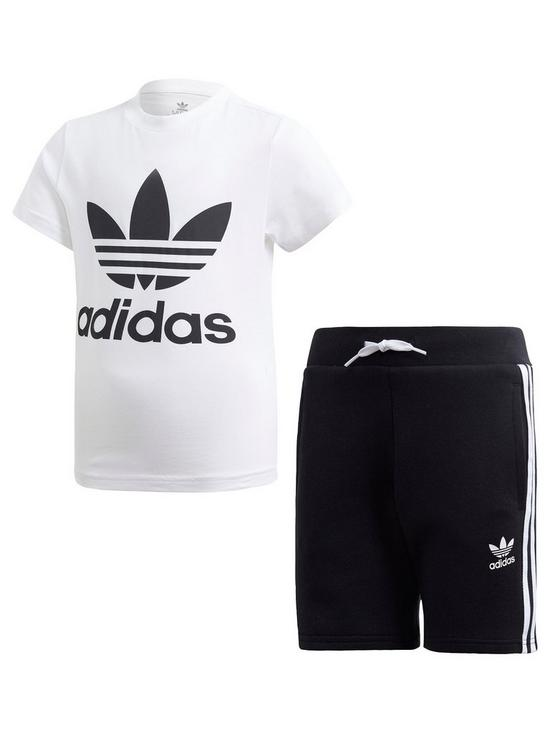 3bf1396c60 adidas Originals Boys Shorts and Short Sleeve T-Shirt Set - White/Black