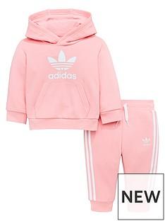 online store 84087 30d6d adidas Originals Baby Girls Trefoil Hoodie Suit - Pink