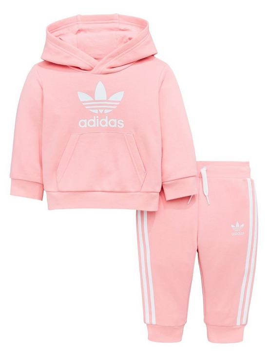 c213a9b7 adidas Originals Baby Girls Trefoil Hoodie Suit - Pink | very.co.uk