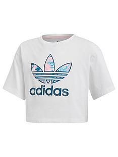 3066590879ba adidas Originals Girls Marble Crop Tee