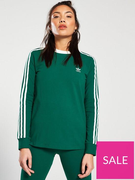 297f9509e9 adidas Originals 3 Stripe Long Sleeve Tee - Green | very.co.uk