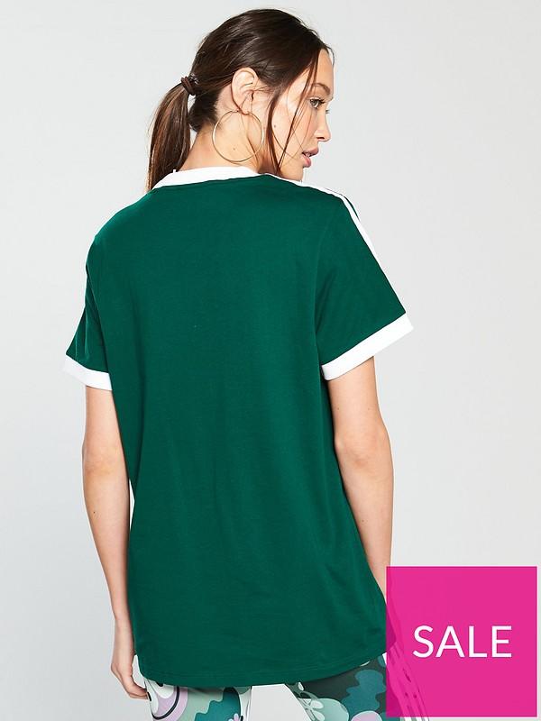 be1c96ada adidas Originals 3 Stripe Tee - Green | very.co.uk