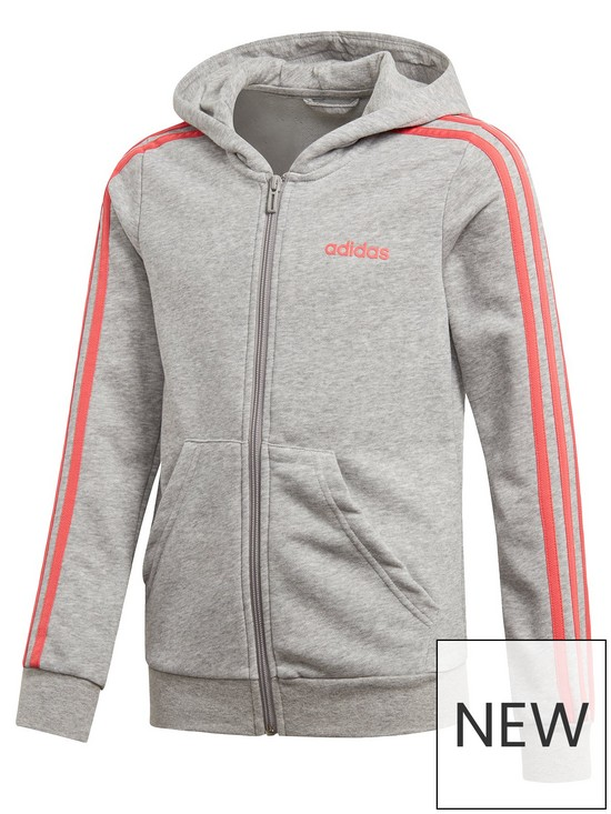 new concept 84627 199d9 adidas Girls 3 Stripe Full Zip Hoodie - Grey Heather