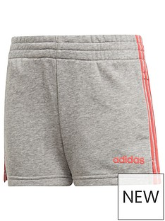 adidas-girls-3-stripe-shorts-grey-heather