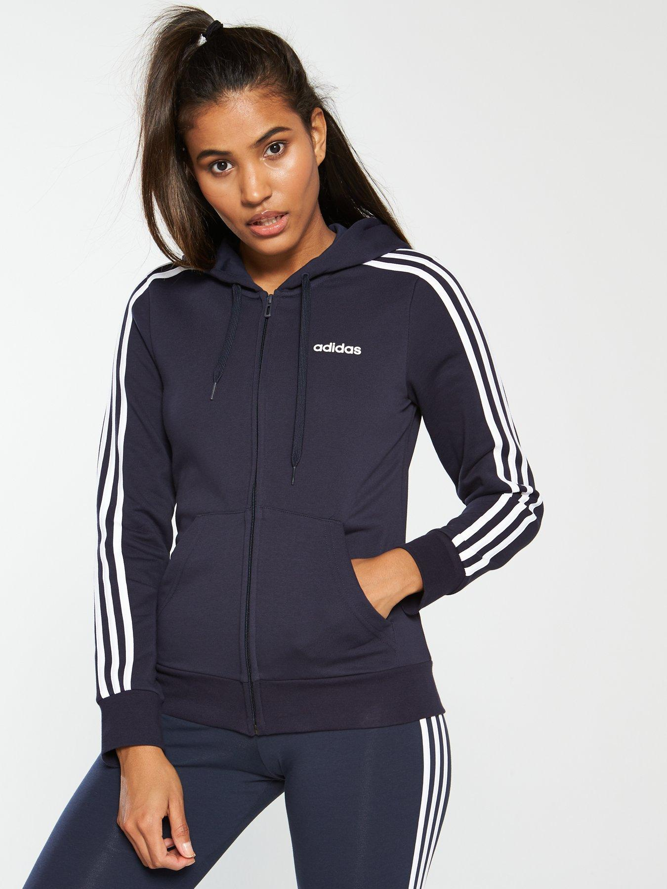 adidas Performance Mens 3 Stripe Classic Full Zip Jacket Tracksuit Set Black