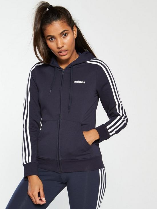 ff9d28f7888 adidas Essentials 3 Stripe Full Zip Hoodie - Navy | very.co.uk