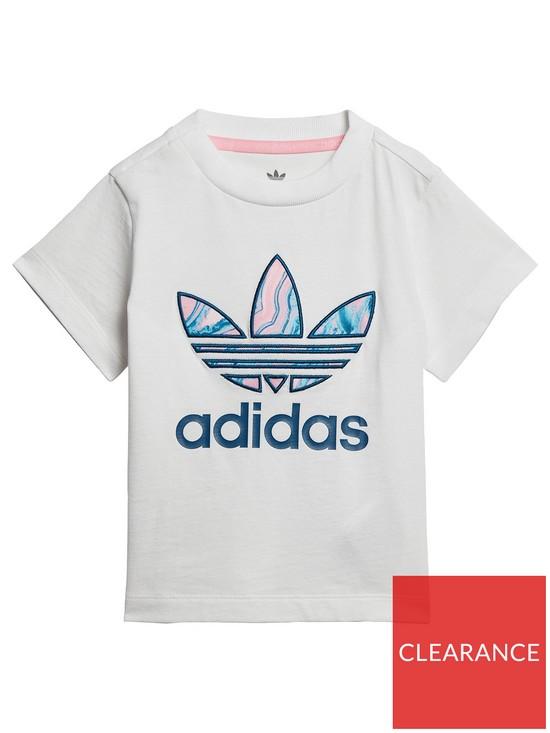 f84b24c681361 Adidas Originals Baby Girls Marble Trefoil Tee
