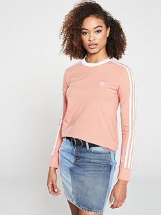 8326da98d13 adidas Originals 3 Stripe Long Sleeve Tee - Pink | very.co.uk