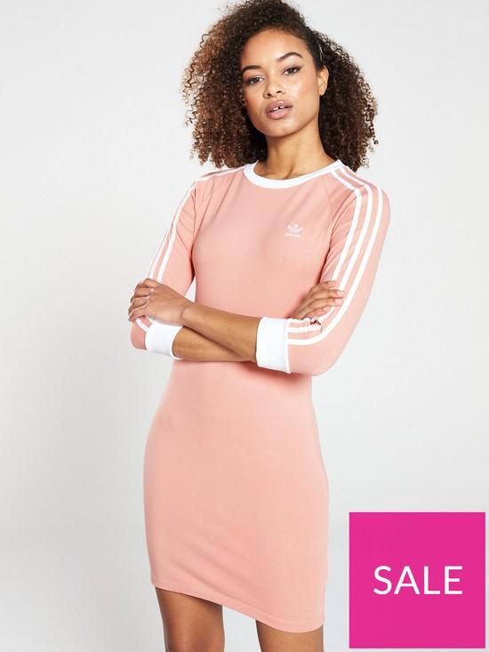 d1d1094f9af adidas Originals 3 Stripes Dress - Pink | very.co.uk