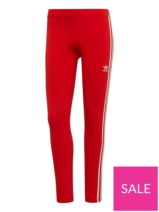 90883130 adidas Originals 3 Stripes Tight - Red | very.co.uk
