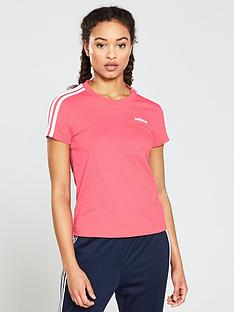 4d3d054a7d9afb adidas Essential 3 Stripes Slim Tee - Pink