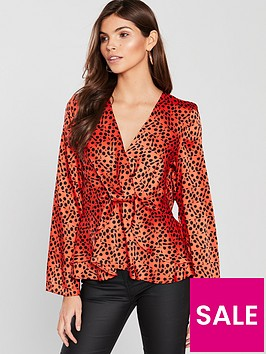 river-island-river-island-twist-front-leopard-blouse-red