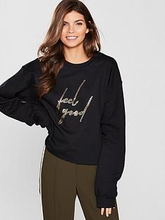 river-island-river-island-metallic-feel-good-sweatshirt-black